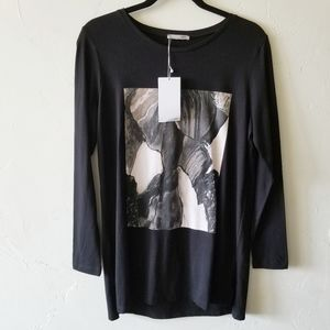 NEW Zara Collection Black Graphic Long Sleeve Tee